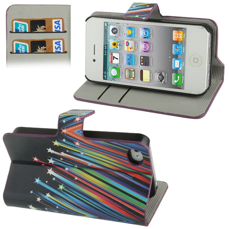 book tasche f r apple iphone 4 4s bunte sterne. Black Bedroom Furniture Sets. Home Design Ideas