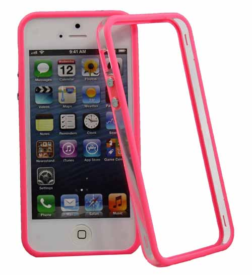 Bumper Case für Apple iPhone 5 Schutzrahmen in pink transparent