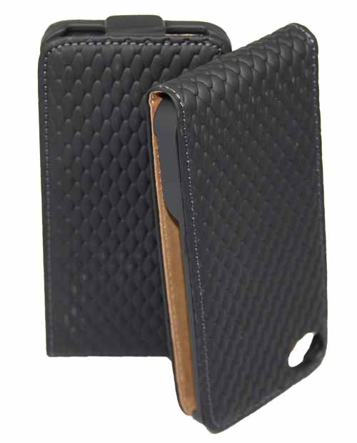 Diamond-Flip-Tasche-fuer-Apple-iPhone-4-4S-in-schwarz-Schutzhuelle-Etui-Case-Bag